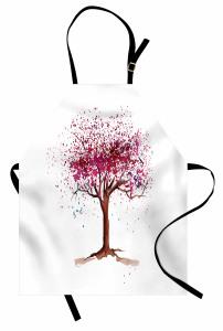 Pembe Ağaç Desenli Mutfak Önlüğü Dekoratif Şık Beyaz