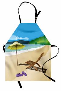 Kumsaldaki Şezlong Mutfak Önlüğü Deniz Gökyüzü