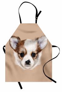 Sevimli Köpek Portresi Mutfak Önlüğü Kahverengi
