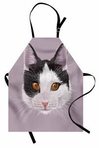 Siyah Beyaz Şirin Kedi Mutfak Önlüğü Dekoratif