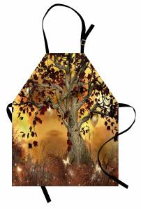Ağaç ve Yaprak Desenli Mutfak Önlüğü Kahverengi Sarı