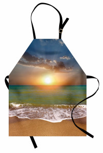 Gün Batımı Temalı Mutfak Önlüğü Yeşil Deniz Gökyüzü
