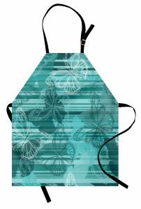 Turkuaz Beyaz Kelebek Mutfak Önlüğü Şık Tasarım