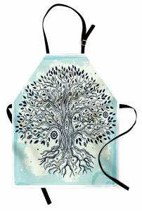Ağaç Desenli Mutfak Önlüğü Mavi Siyah Şık Tasarım