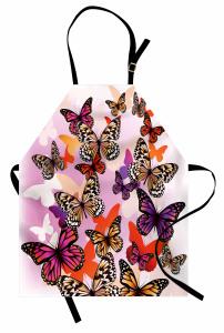 Dekoratif Kelebekler Mutfak Önlüğü Mor Şık Tasarım