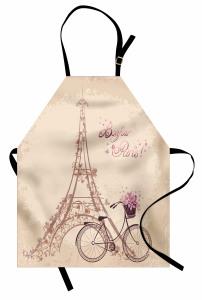 Eyfel Kulesi Desenli Mutfak Önlüğü Bej Paris Nostaljik