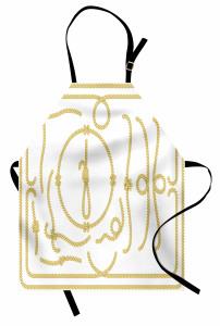 Gemici Düğümü Desenli Mutfak Önlüğü Dekoratif Şık Sarı