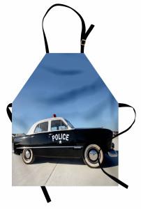 Nostaljik Polis Arabası Mutfak Önlüğü Siyah Beyaz