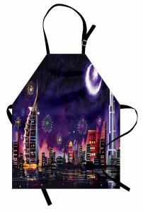 Havai Fişekli Dubai Mutfak Önlüğü Ay ve Yıldız
