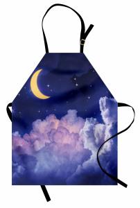 Aydede Bulutlar Yıldız Mutfak Önlüğü Gece Gökyüzü
