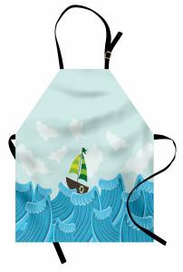 Küçük Yelkenli ve Dalga Mutfak Önlüğü Dev Dalgalar