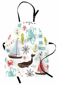 Deniz Temalı Mutfak Önlüğü Mavi Ahtapot Yelkenli Yunus