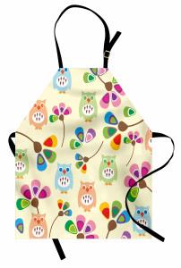 Sevimli Renkli Baykuş Mutfak Önlüğü Dekoratif