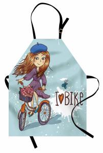 Bisiklete Binen Kız Mutfak Önlüğü Çiçekler
