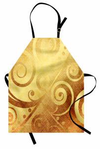 Altın Spiral Desenli Mutfak Önlüğü Dekoratif