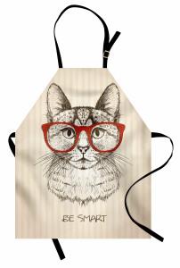 Kırmızı Gözlüklü Kedi Mutfak Önlüğü Zeki Ol