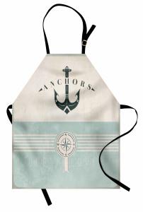 Denizcilik Temalı Mutfak Önlüğü Nostaljik Mavi Bej