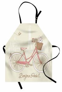 Pembe Bisiklet ve Köpek Mutfak Önlüğü Paris