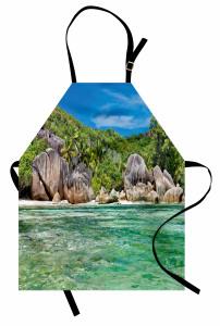 Tropik Kayalık Sahil Mutfak Önlüğü Dekoratif