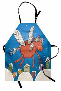 Kanatlı At ve Binalar Mutfak Önlüğü Mavi Gökyüzü