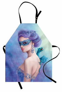 Maskeli Mavi Kız Mutfak Önlüğü Ejderha Dekoratif