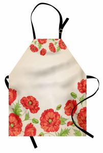 Pembe Kırmızı Çiçekler Mutfak Önlüğü Dekoratif
