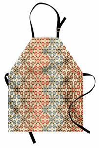 Geometrik Çiçek Desenli Mutfak Önlüğü Dekoratif