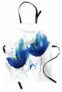 Sulu Boya Mavi Çiçekler Mutfak Önlüğü Sanatsal