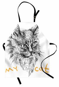Monokrom Tarama Kedi Mutfak Önlüğü Benim Kedim