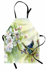 Tepeli Minik Kuşlar Mutfak Önlüğü Meyve Çiçekleri