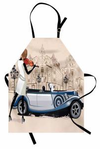 Keman Çalan Kız Desenli Mutfak Önlüğü Klasik Otomobil