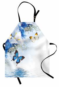 Denizde Kelebek Desenli Mutfak Önlüğü Çiçekli