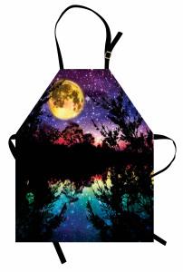 Göl Kenarında Gece Desenli Mutfak Önlüğü Yıldız Ay