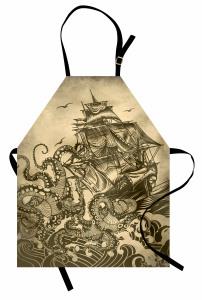 Dev Ahtapot Desenli Mutfak Önlüğü Sarı