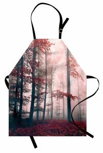 Ormanda Sonbahar Büyüsü Mutfak Önlüğü Kırmızı Yaprak