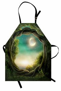 Ormanda Bir Gece Mutfak Önlüğü Yıldızlar ve Ay