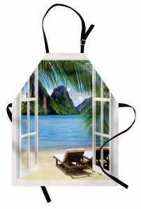 Cennete Açılan Pencere Mutfak Önlüğü Deniz Manzarası