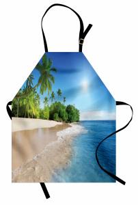 Kumsalda Güneşli Bir Gün Mutfak Önlüğü Palmiye Deniz