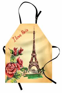 Eyfel Kulesi Manzaralı Mutfak Önlüğü Romantik Güller