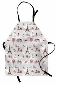Paris'te Aşk Temalı Mutfak Önlüğü Kedi Eyfel Kulesi