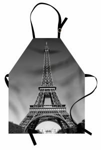 Eyfel Kulesi Manzaralı Mutfak Önlüğü Siyah Beyaz