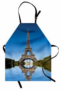 Eyfel Kulesi Temalı Mutfak Önlüğü Gökyüzü ve Nehir
