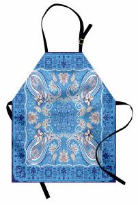 Mavi Çiçek Temalı Mutfak Önlüğü Şal Desenli Otantik