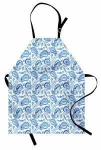 Mavi Beyaz Çiçekli Mutfak Önlüğü Şal Desenli Çeyizlik