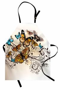 Romantik Kelebek Desenli Mutfak Önlüğü Çeyizlik Mavi