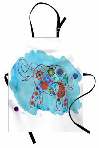 Fil Desenli Mutfak Önlüğü Mavi Sulu Boya Fonlu Çiçek