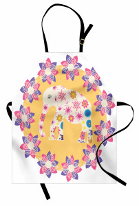 Çiçek ve Fil Desenli Mutfak Önlüğü Rengarenk Sevimli