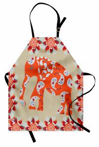Turuncu Fil Desenli Mutfak Önlüğü Çiçek Süslemeli