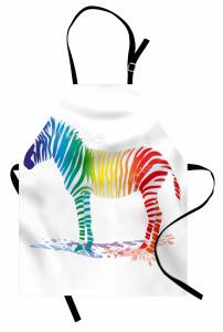 Rengarenk Zebra Desenli Mutfak Önlüğü Beyaz Fonlu