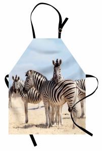Zebra Desenli Mutfak Önlüğü Afrika'da Yaşam Temalı